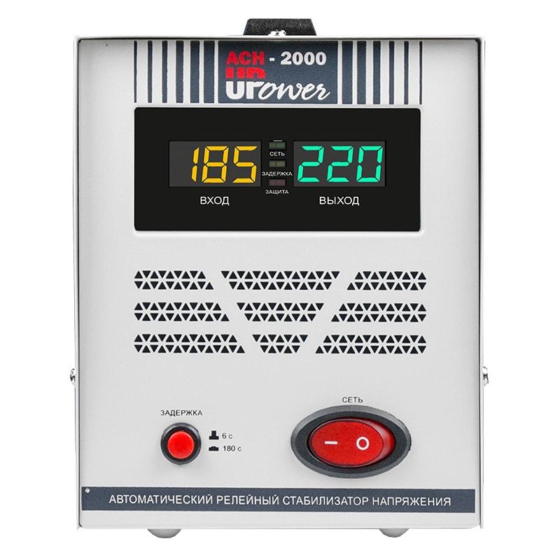 Однофазный стабилизатор напряжения UPOWER АСН 2000 II поколениеСтабилизаторы напряжения<br>Релейный стабилизатор с весьма привлекательным ценником. Обладает сбалансированными характеристиками. Мощность 2000 ВА допускает подключение двухкомпрессорного холодильника или менее мощного потребителя. Выходное напряжение у этой модели отклоняется от 220 В не более, чем на 8% при условии, что вольтаж в сети соответствует диапазону 140-260 В. Вне этого диапазона погрешность стабилизации становится больше. Защитное отключение нагрузки происходит при входных напряжениях ниже 120 или выше 280 вольт. Модел...<br><br>Cтрана производства: Китай<br>Гарантия: 12 месяцев<br>Расчетный срок службы: 10 лет<br>Применение: Для дачи, Для частного дома, Для холодильника<br>Тип напряжения: Однофазный<br>Принцип стабилизации: Релейный<br>Мощность (кВА): 2<br>Максимальный ток (А): до 9<br>Режим работы: Непрерывный<br>Способ установки: Напольный<br>Тип охлаждения: Воздушное (естественное)<br>Дисплей: Цифровой<br>Индикация: Входное напряжение, Выходное напряжение, Сеть, Защита, Задержка<br>Подключение: Вилка, розетка<br>Колличество розеток: 2 (220 В)<br>Режим &quot;БАЙПАС&quot;: Нет<br>Задержка включения: 6 секунд, 180 секунд<br>Предельный диапазон входных напряжений (В): 120-280<br>Рабочий диапазон входных напряжений (В): 140-260<br>Номинальное выходное напряжение (В): 220<br>Отклонение выходных напряжений: ±8%<br>Защита от повышенного напряжения, откл. при: &amp;#8805; 280В<br>Защита от пониженного напряжения, откл. при: &amp;#8804; 120В<br>Защита от перегрева трансформатора, откл. при: &amp;#8805; 120 °С<br>Степень защиты от внешних воздействий по ГОСТ 14254-96: IP20<br>Температура эксплуатации (°С): -20...+40<br>Температура хранения (°С): -40...+45<br>Относительная влажность (%): 95<br>КПД при полной нагрузке (%): 98<br>Габаритные размеры (мм): 250х140х170<br>Вес (кг): 4,4<br>Вес брутто (кг): 4,8<br>brutto-demissions: 170х310х210<br>brutto-weight: 4300
