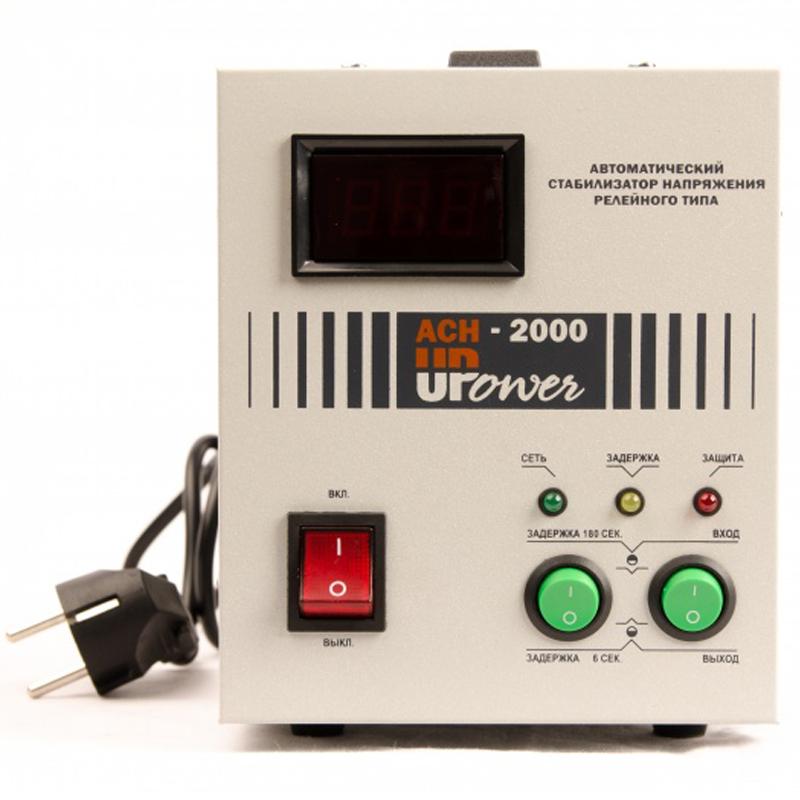 Однофазный стабилизатор напряжения UPOWER АСН-2000 с цифровым дисплеем