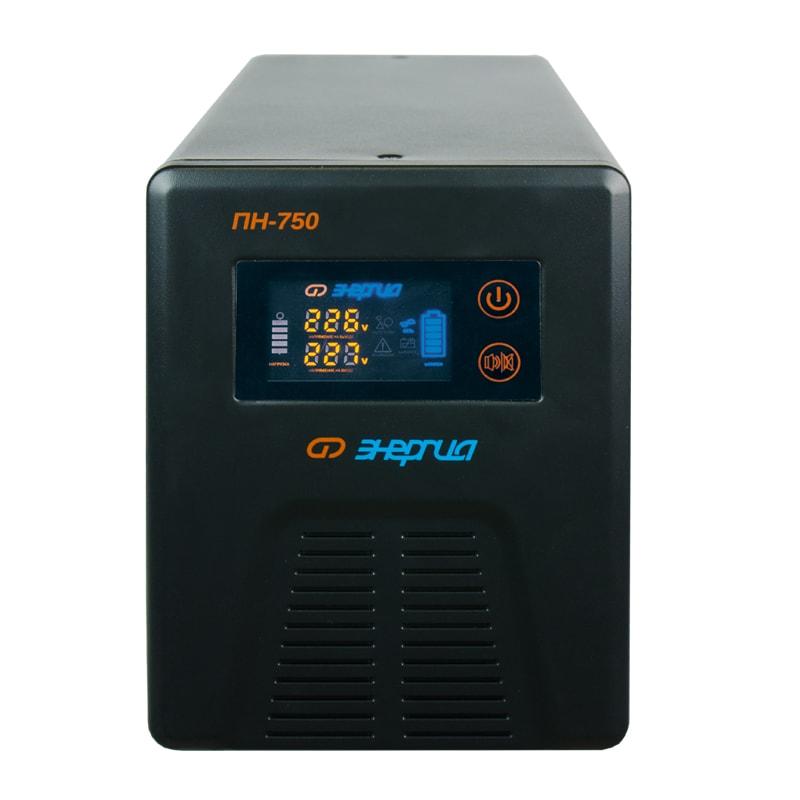 Инвертор (преобразователь напряжения) Энергия ПН-750 с цветным дисплеемИнверторы<br>Инвертор мощностью 750 ВА, генерирующий чистую синусоиду. Принадлежит к категории line-interactive, то есть сочетает в себе ИБП, стабилизатор напряжения и з/у для батареи. Резервным источником электроэнергии служит один 12-вольтовый аккумулятор. Данная модель способна обеспечить качественным бесперебойным питанием компьютер.<br><br>Cтрана производства: Россия<br>Гарантия: 12 месяцев<br>Расчетный срок службы: 10 лет<br>Тип инвертора: Line-interactive<br>Способ установки: Напольный<br>Форма напряжения: Чистая синусоида<br>Число фаз: Одна<br>Максимальная мощность (ВА): 750<br>Пик-фактор: 3:1<br>Наличие стабилизатора: Есть, автотрансформатор с релейными ключами<br>Величина постоянного напряжения (В): 12<br>Количество 12 вольтовых аккумуляторов необходимых для работы: 1<br>Функция заряда аккумулятора: Есть<br>Ток заряда аккумуляторов (А): От 10 до 15<br>Максимальная ёмкость подключаемых аккумуляторов (А/Ч): 200<br>Рабочий диапазон входного напряжения сети (В): 155-275<br>Выходное напряжение при питании от сети (В): 220 ±10%<br>Выходное напряжение при питании от батарей (В): 220 ±1%<br>Частота выходного напряжения (Гц): 50<br>Защита от перегрузки до 120% от мощности: 30 секунд работы<br>Защита от перегрузки больше 120% от мощности: 2 секунды работы<br>Защита от перегрузки больше 260% от мощности: Мгновенное отключение<br>Защита от перегрева, больше 120°C: Отключение<br>Защита по току: Автоматический выключатель<br>Защита от повышенного напряжения, с переходом на работу от аккумулятора (В): &amp;#8805;285<br>Защита от пониженного напряжения, с переходом на работу от аккумуляторов (В): &amp;#8804;120<br>Защита от полного разряда батареи: Есть<br>Защита от перезаряда батареи: Есть<br>Защита от перегрузки и короткого замыкания: Есть<br>Время переключения режимов работы: Не более 8 мс<br>КПД (%): 98<br>Индикация параметров работы: LED-дисплей (многофункциональный)<br>Способ охлаждения: Естестве