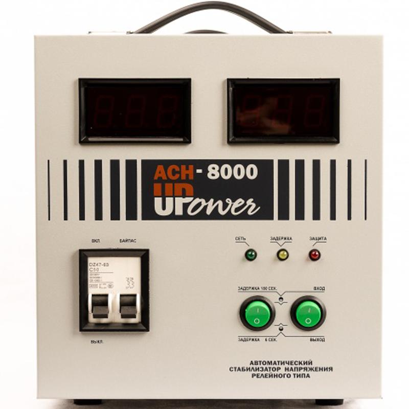 Однофазный стабилизатор напряжения UPOWER АСН-8000 с цифровым дисплеемОднофазные стабилизаторы Upower АСН<br>Однофазный стабилизатор напряжения UPOWER АСН-8 000 с цифровым дисплеем<br><br>Применение: Для дачи<br>Тип напряжения: Однофазный<br>Принцип стабилизации: Релейный<br>Мощность (кВА): 8<br>Способ установки: Напольный<br>Индикация: Входное напряжение<br>Габаритные размеры (мм): 360х225х250<br>Вес (кг): 11.5<br>brutto-demissions: 280х400х310<br>brutto-weight: 13200