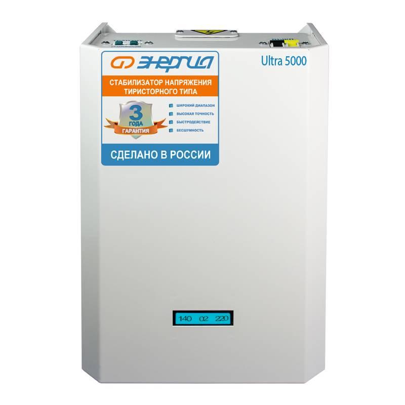 Однофазный стабилизатор напряжения ЭНЕРГИЯ Ultra 5000Стабилизаторы напряжения<br>Тиристорный стабилизатор напряжения для однофазной сети мощностью 3,5-5 кВт / 5 кВА. Применяется для выравнивания колебаний напряжения в сети. Обладает повышенной точностью  ±3   и высоким быстродействием. Бесшумный, стойкий к отрицательным температурам. Расчетный срок службы более 15 лет. Производство – Россия.<br><br>Cтрана производства: Россия<br>Гарантия: 36 месяцев<br>Расчетный срок службы: 15 лет<br>Применение: Для дачи, Для частного дома<br>Тип напряжения: Однофазный<br>Принцип стабилизации: Тиристорный<br>Мощность (кВА): 5<br>Режим работы: Непрерывный<br>Способ установки: Напольный, Настенный<br>Тип охлаждения: Воздушное (конвекционное и принудительное)<br>Дисплей: Цифровой<br>Индикация: Входное напряжение, Выходное напряжение, Ступень стабилизации<br>Подключение: Клеммная колодка<br>Режим &quot;БАЙПАС&quot;: Есть<br>Задержка включения: 6 секунд<br>Предельный диапазон входных напряжений (В): 60-265<br>Рабочий диапазон входных напряжений (В): 138-250<br>Рабочий диапазон выходных напряжений (В): 213-227<br>Номинальное выходное напряжение (В): 220<br>Отклонение выходных напряжений: ±3%<br>Время реакции на изменение напряжения (мс): 20<br>Количество ступеней регулировки: 16<br>Защита от повышенного напряжения, откл. при: &amp;#8805; 265В<br>Защита от пониженного напряжения, откл. при: &amp;#8804; 60В<br>Защита от перегрева трансформатора, откл. при: &amp;#8805; 120 °С<br>Защита от перегрузки по току: Автоматический выключатель<br>Степень защиты от внешних воздействий по ГОСТ 14254-96: IP20<br>Температура эксплуатации (°С): -30...+40<br>Относительная влажность (%): 80<br>КПД при полной нагрузке (%): 98<br>Габаритные размеры (мм): 320х420х180<br>Вес (кг): 16<br>brutto-demissions: 420х320х180<br>brutto-weight: 18000