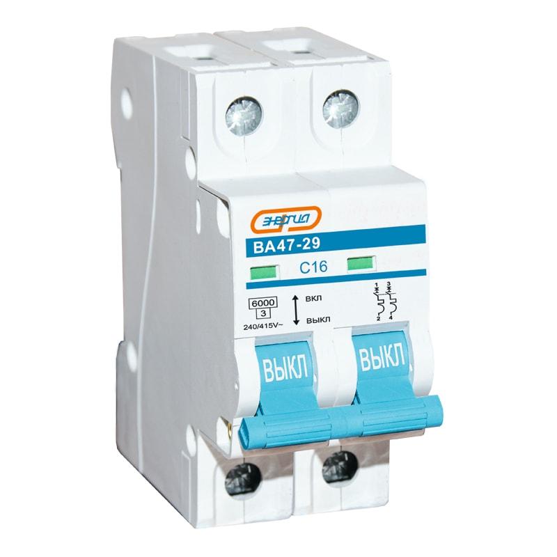 Автоматический выключатель 2P 16A ВА 47-29 ЭНЕРГИЯ - Низковольтное оборудование