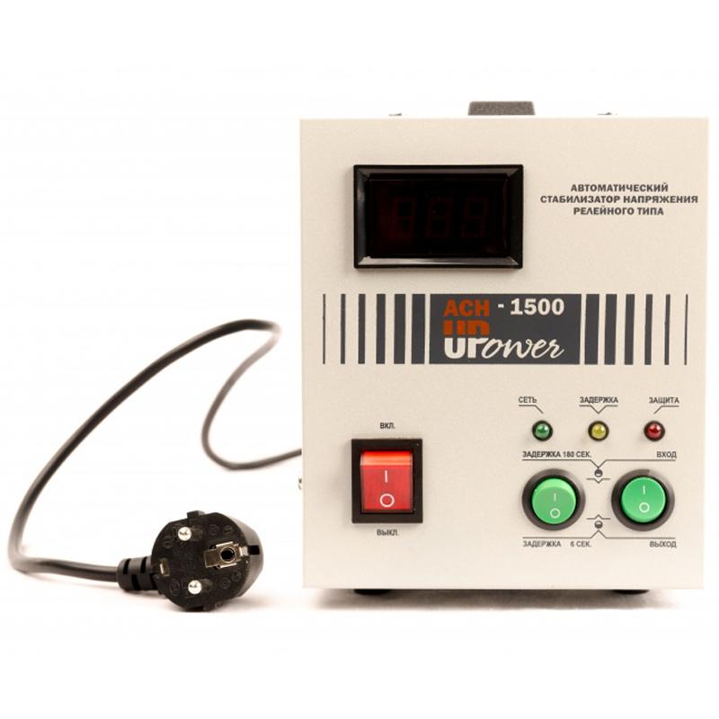 Однофазный стабилизатор напряжения UPOWER АСН-1500 с цифровым дисплеемСтабилизаторы напряжения<br>Однофазный стабилизатор напряжения UPOWER АСН-1 500 с цифровым дисплеем<br><br>Тип напряжения: Однофазный<br>Принцип стабилизации: Релейный<br>Мощность (кВА): 1.5<br>Способ установки: Напольный<br>Индикация: Входное напряжение<br>Габаритные размеры (мм): 300х195х230<br>Вес (кг): 3.9<br>brutto-demissions: 195х300х230<br>brutto-weight: 4200