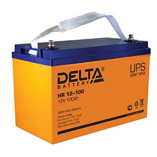 Аккумулятор DELTA HR 12-100Инверторы<br>Необслуживаемый свинцово-кислотный аккумулятор DELTA HR 12-100 отличается повышенной энергоотдачей и высокой надежностью. Идеально подходит для использования в источниках бесперебойного и резервного питания (инверторах).<br><br>Гарантия: 12 месяцев<br>Габаритные размеры (мм): 330x171x215<br>Вес (кг): 32<br>brutto-demissions: 171х330х215<br>brutto-weight: 29500