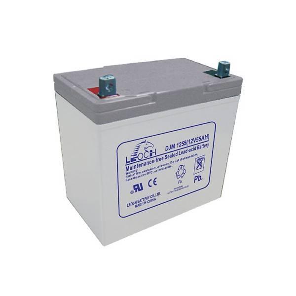Аккумулятор LEOCH DJM1255Аккумуляторы<br>Ёмкость аккумулятора составляет 55 А/Ч. Напряжение равно 12 вольт. АКБ подключается к батареи через клеммы под болт М6, выполнена по технологии AGM. Батарея необслуживаемая, устанавливается в помещении.<br><br>brutto-demissions: 140х230х230<br>brutto-weight: 17000