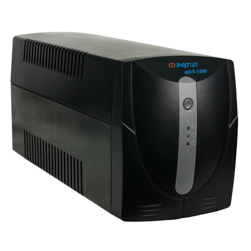 Источник бесперебойного питания Энергия ИБП 1500Инверторы<br>Энергия ИБП 1500 - достаточно мощный источник бесперебойного питания. Обеспечит автономную работу бытовых и офисных электроприборов в условиях отсутствия сетевого напряжения в течении 3-20 минут. А также, надежно защитит технику от скачков и перепадов напряжения. Мощности устройства хватит для подключения одного-двух компьютеров, принтера, роутера. ИБП оснащен стабилизатором напряжения с релейными ключами. Стабилизирует напряжение в диапазоне 165 - 275 вольт. При выходе напряжения за указанные пределы или о...<br><br>Cтрана производства: Китай<br>Гарантия: 12 месяцев<br>Расчетный срок службы: 10 лет<br>Тип инвертора: Line-interactive<br>Способ установки: Напольный<br>Форма напряжения: Синусоида (от сети) / Модифицированная синусоида (от батареи)<br>Число фаз: Одна<br>Рабочая мощность (ВА): 1500<br>Пик-фактор: 3:1<br>Наличие стабилизатора: Есть, автотрансформатор с релейными ключами<br>Наличие аккумулятора: Внутренний 8 АЧ<br>Тип аккумулятора: Свинцово-кислотная необслуживаемая тип AGM<br>Величина постоянного напряжения (В): 24<br>Количество батарей: 2 x 12В 8Ач<br>Функция заряда аккумулятора: Есть<br>Время работы от батарей: 3-20 минут<br>Время зарядки: 8-15 час 90% ёмкости<br>Рабочий диапазон входного напряжения сети (В): 165-275<br>Выходное напряжение при питании от сети (В): 220 ±10%<br>Выходное напряжение при питании от батарей (В): 220 ±1%<br>Защита от полного разряда батареи: Есть<br>Защита от перезаряда батареи: Есть<br>Защита от перегрузки и короткого замыкания: Есть<br>Время переключения режимов работы: Не более 10 мс<br>Индикация параметров работы: Светодиодный индикатор<br>Подключение к сети: Cетевой кабель с вилкой<br>Подключение нагрузки к инвертору: 3 розетки Shuko<br>Уровень шума: Не более 45 дб (на расстоянии 1 метр)<br>Температура эксплуатации (°C): 0...+40<br>Относительная влажность: &amp;#8804;90%<br>Габаритные размеры (мм): 345x140x170<br>Вес (кг): 10,7<br>Вес брутто (кг): 11,2<br>brutt