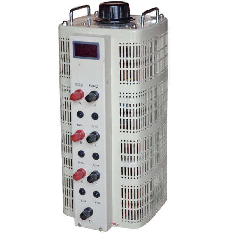 Регулируемый трехфазный автотрансформатор (ЛАТР) ЭНЕРГИЯ TSGC2-15k (15 кВА)Трансформаторы<br>Трехфазный автотрансформатор TSGC2-15 с LCD-дисплеем<br><br>Гарантия: 12 месяцев<br>Тип напряжения: Трехфазный<br>Мощность (кВА): 15<br>Габаритные размеры (мм): 618х245х272<br>Вес (кг): 50<br>brutto-weight: 50000