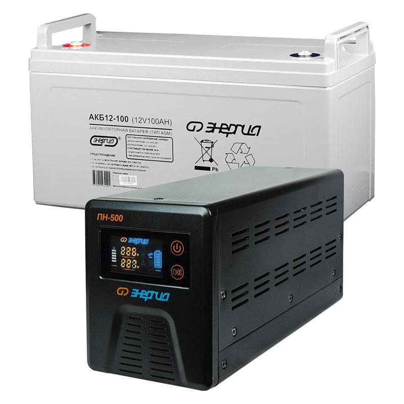 Комплект ИБП Инвертор Энергия ПН-500 + Аккумулятор 100 АЧ