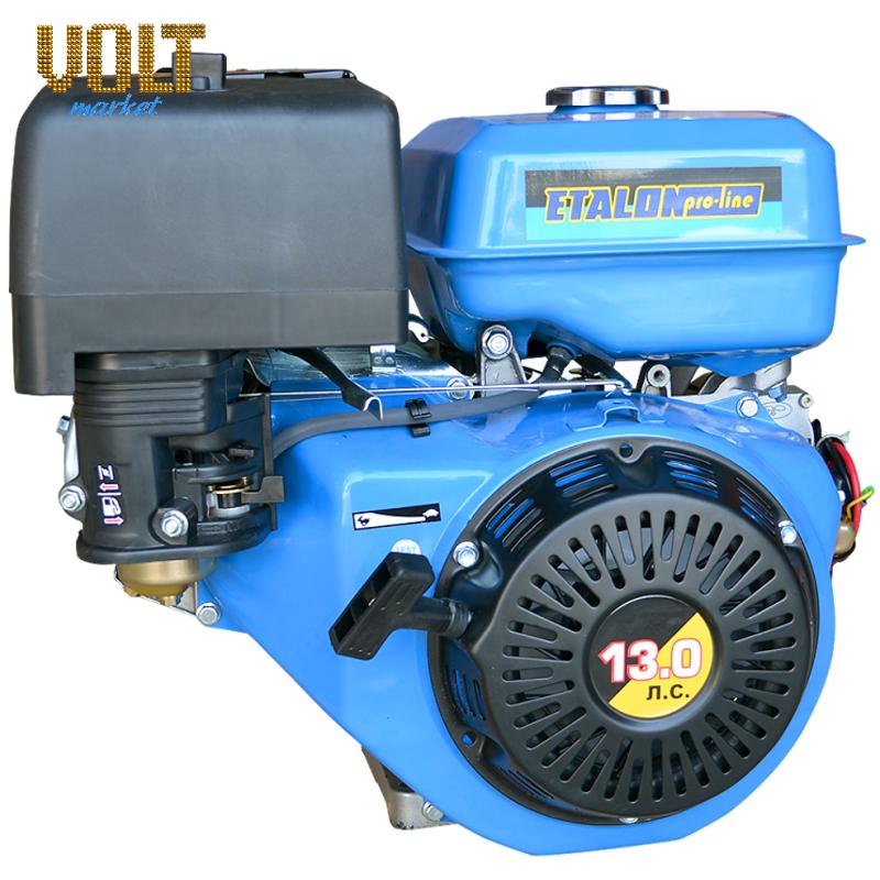 Бензиновый двигатель ETALON GE188F (13л.с.) с ручным запускомСадовая техника<br>Бензиновый двигатель ETALON GE188F  13л.с.  с ручным запуском<br><br>Объем заливаемого масла: 1.1<br>Тип: Бензиновый<br>Тип запуска: Ручной стартер<br>Рабочий объем двигателя (см3): 389<br>Максимальная мощность двигателя (л.с.): 13<br>Объем топливного бака (л): 6.5<br>Габаритные размеры (мм): 515х450х490<br>Вес (кг): 31<br>Вес брутто (кг): 32<br>brutto-weight: 34000