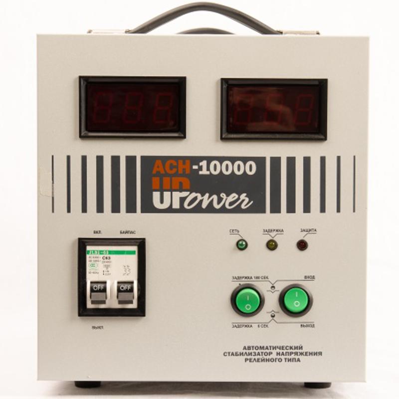 Однофазный стабилизатор напряжения UPOWER АСН-10000 с цифровым дисплеемСтабилизаторы напряжения<br>Стабилизатор напряжения АСН 10000 - релейный стабилизатор для однофазной сети на 10 кВА. Можно эксплуатировать при низких температурах, с расширенным диапазоном входного напряжения  120-280 В  и погрешностью на выходе всего   6   220В ±6  . Не дорогой. Высокое качество изготовления. Доступное решение проблем плохого электропитания на даче.<br><br>Применение: Для дачи<br>Тип напряжения: Однофазный<br>Принцип стабилизации: Релейный<br>Мощность (кВА): 10<br>Способ установки: Напольный<br>Индикация: Входное напряжение<br>Габаритные размеры (мм): 355х220х245<br>Вес (кг): 13.4<br>brutto-demissions: 290х410х320<br>brutto-weight: 14000