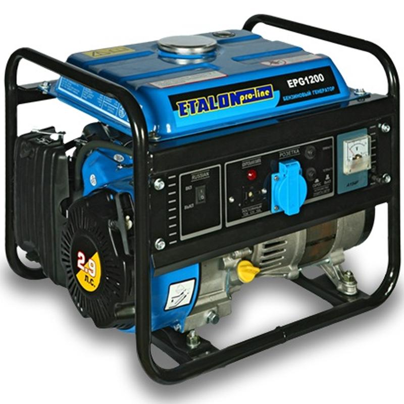 Бензиновая электростанция ETALON EPG 1200Генераторы<br>Бензиновая электростанция ETALON EPG 1200<br><br>Мощность (кВт): 0.85<br>Расход топлива (л/час): 360<br>Тип: Бензиновый<br>Максимальная мощность двигателя (л.с.): 2,4<br>Номинальная мощность (кВт): 0.85<br>Максимальная мощность (кВт): 1<br>Топливо: Бензин АИ-92<br>Объем топливного бака (л): 5.5<br>Уровень шума (дБ): 68<br>Габаритные размеры (мм): 440х320х410<br>Вес (кг): 26<br>brutto-weight: 29000