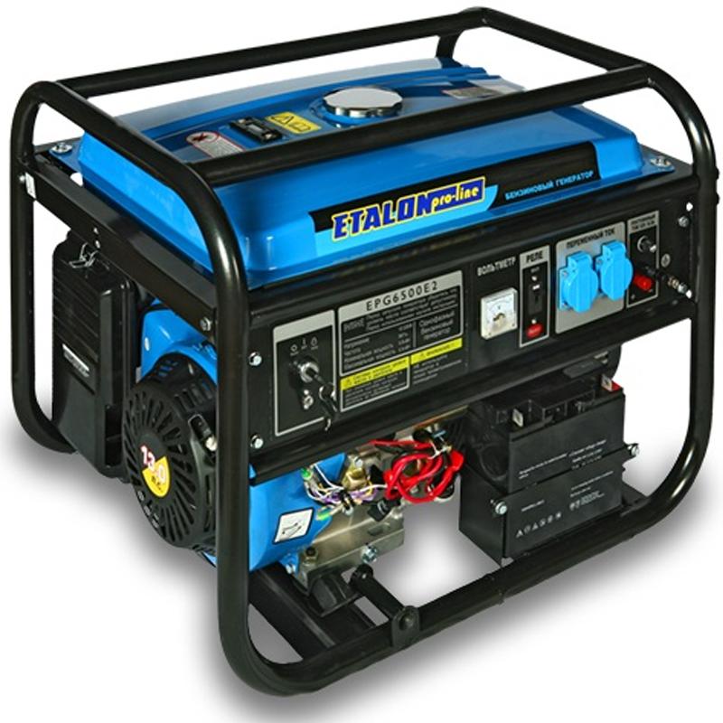 Бензиновая электростанция Etalon EPG 6500 E2 (бензогенератор 5,5 кВт) на колесах, с ручками и аккумулятором - Генераторы