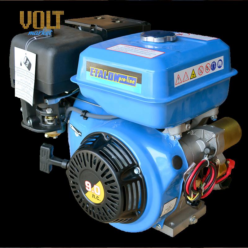 Бензиновый двигатель ETALON GE177FE (9л.с.) с электростартеромСадовая техника<br>Бензиновый двигатель ETALON GE177FE  9л.с.  с электростартером<br><br>Объем заливаемого масла: 1.1<br>Тип: Бензиновый<br>Тип запуска: Ручной стартер, Электростартер<br>Рабочий объем двигателя (см3): 270<br>Максимальная мощность двигателя (л.с.): 9<br>Объем топливного бака (л): 6.5<br>Габаритные размеры (мм): 420х515х470<br>Вес (кг): 25<br>Вес брутто (кг): 26<br>brutto-weight: 28000
