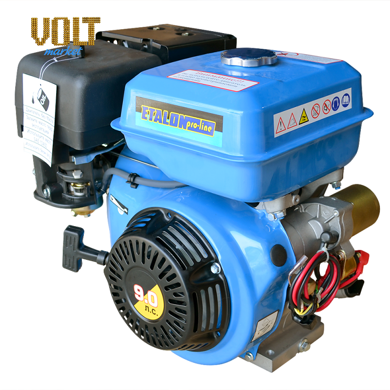 Бензиновый двигатель ETALON GE177FE (9л.с.) с лектростартеромСадова техника<br>Бензиновый двигатель ETALON GE177FE  9л.с.  с лектростартером<br><br>Объем заливаемого масла: 1.1<br>Тип: Бензиновый<br>Тип запуска: Ручной стартер, Электростартер<br>Рабочий объем двигател (см3): 270<br>Максимальна мощность двигател (л.с.): 9<br>Объем топливного бака (л): 6.5<br>Габаритные размеры (мм): 420х515х470<br>Вес (кг): 25<br>Вес брутто (кг): 26<br>brutto-weight: 28000