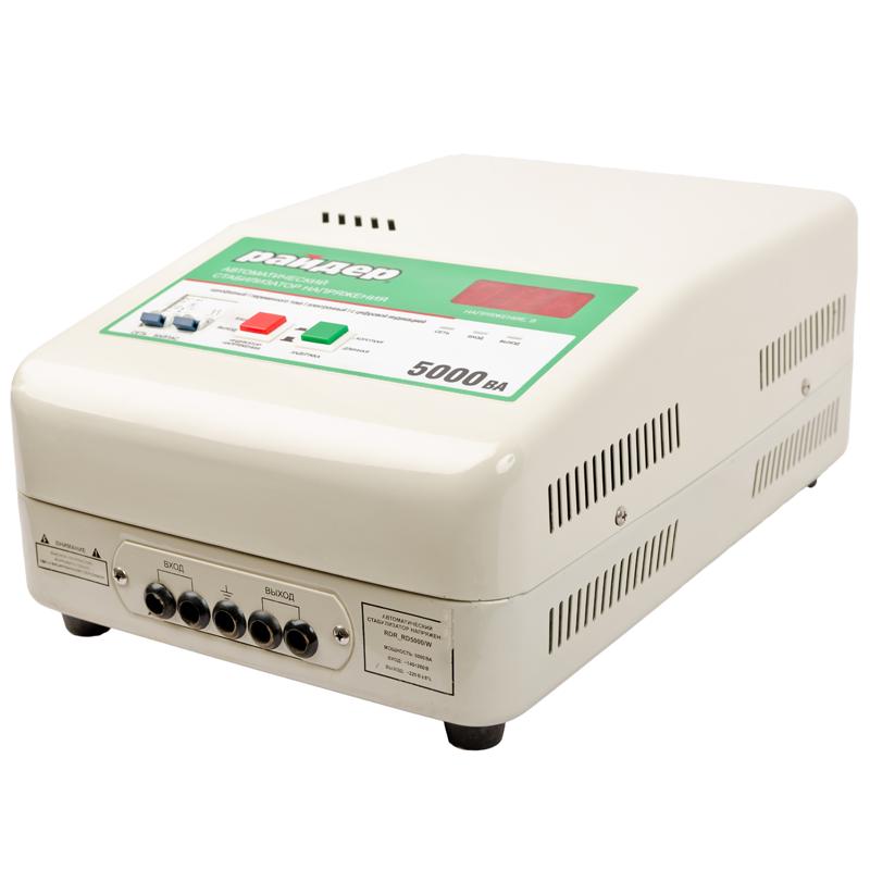 Однофазный стабилизатор напряжения РАЙДЕР RDR 5000 (навесной)Стабилизаторы напряжения<br>Однофазный стабилизатор напряжения РАЙДЕР RDR 5000  навесной<br><br>Применение: Для дачи<br>Тип напряжения: Однофазный<br>Принцип стабилизации: Релейный<br>Мощность (кВА): 5<br>Способ установки: Настенный<br>Габаритные размеры (мм): 380x260x150<br>Вес (кг): 11.2<br>brutto-demissions: 310х435х210<br>brutto-weight: 13000