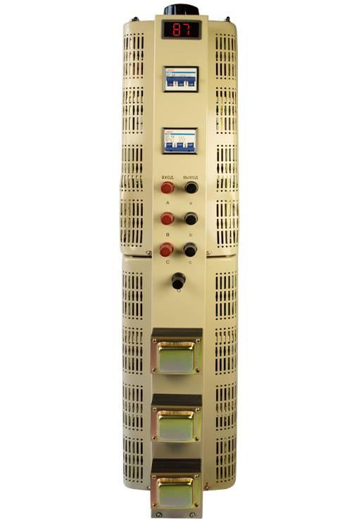Регулируемый трехфазный автотрансформатор (ЛАТР) ЭНЕРГИЯ TSGC2-30k (30 кВА)Трансформаторы<br>Трехфазный автотрансформатор TSGC2-30k с LCD-дисплеем<br><br>Гарантия: 12 месяцев<br>Тип напряжения: Трехфазный<br>Мощность (кВА): 30<br>Габаритные размеры (мм): 730х320х350<br>Вес (кг): 80<br>brutto-demissions: 315х445х860<br>brutto-weight: 80500