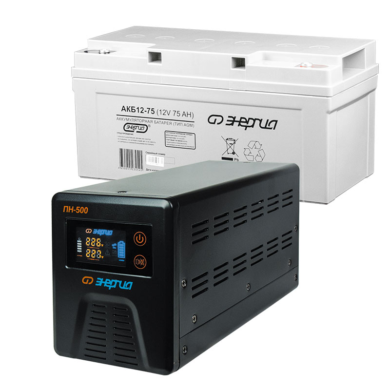 Комплект ИБП Инвертор Энергия ПН-500 + аккумулятор 75 АЧ