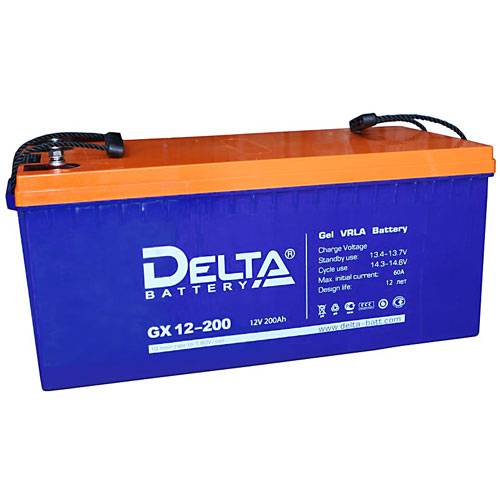 Аккумулятор DELTA GX 12-200Аккумуляторы<br>Аккумуляторы DELTA GX12-200 могут работы, как в циклическом, так и в буферном режимах, идеально подходят для работы с источниками бесперебойного, резервного питания (инверторах), систем телекоммуникаций и связи.<br><br>Гарантия: 12 месяцев<br>Габаритные размеры (мм): 522x238x227<br>Вес (кг): 65<br>brutto-demissions: 238х522х227<br>brutto-weight: 65000