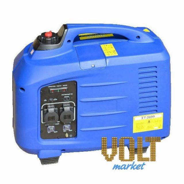 Генератор инверторный бензиновый ET-2600I Etalon/EtaltechГенераторы<br>Генератор инверторный бензиновый ET-2600I Etalon/Etaltech<br><br>Инверторный генератор: Да<br>С функцией сварки: Нет<br>Частота (Гц): 50<br>В кожухе: Да<br>Тип: Бензиновый<br>Тип запуска: Ручной стартер<br>Рабочий объем двигателя (см3): 149<br>Номинальная мощность (кВт): 2.6<br>Максимальная мощность (кВт): 2.7<br>Объем топливного бака (л): 7<br>Габаритные размеры (мм): 580х310х500<br>Вес (кг): 30<br>brutto-weight: 32000