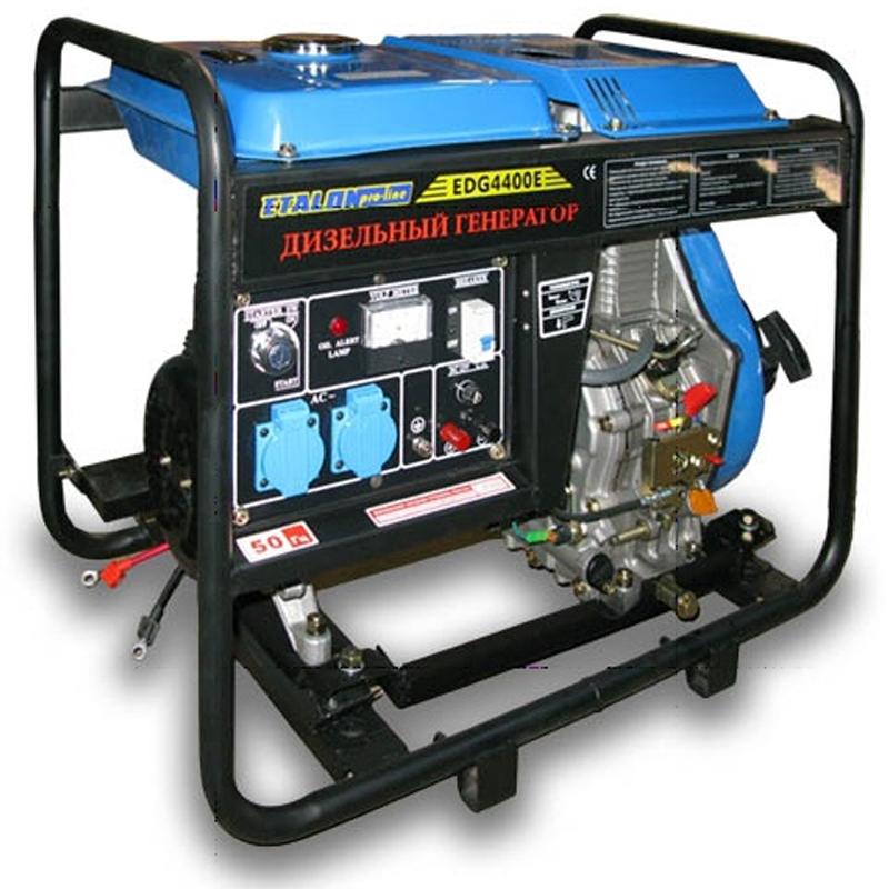 Дизельный генератор Etalon EDG 4400EГенераторы<br>Дизельный генератор Etalon EDG 4400E<br><br>Частота (Гц): 50<br>Объем заливаемого масла: 1.65<br>Тип: Дизельный<br>Тип запуска: Ручной стартер, Электростартер<br>Рабочий объем двигателя (см3): 406<br>Номинальная мощность (кВт): 4.4<br>Максимальная мощность (кВт): 4.8<br>Объем топливного бака (л): 15<br>Время работы на полном баке (ч): 7.7<br>Габаритные размеры (мм): 760х500х700<br>Вес (кг): 107<br>brutto-weight: 111000