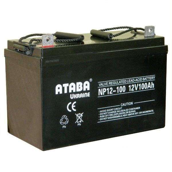 Аккумулятор Ataba NP12-100 12V100АhИнверторы<br><br><br>Габаритные размеры (мм): 345х180х272<br>Вес (кг): 29<br>brutto-demissions: 180х345х272<br>brutto-weight: 29000