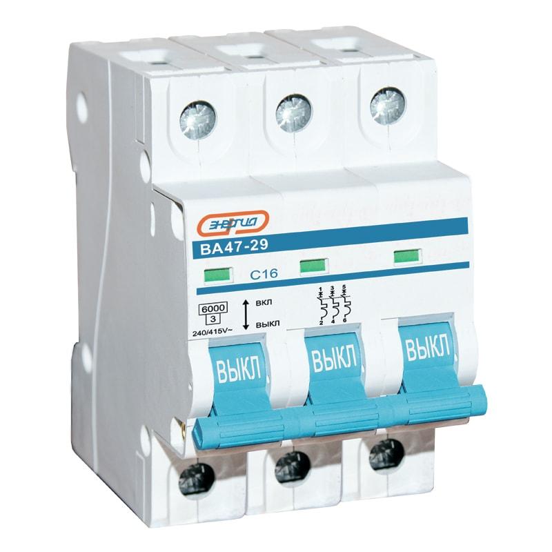 Автоматический выключатель 3P 6A ВА 47-29 ЭНЕРГИЯНизковольтное оборудование<br>Трехполюсный автоматический выключатель серии Энергия ВА47-29, номинальный ток – 6 А.<br><br>Cтрана производства: Китай<br>Гарантия: 36 месяцев<br>Расчетный срок службы: 10 лет<br>Габаритные размеры (мм): 54х65х82<br>Вес (кг): 0,33