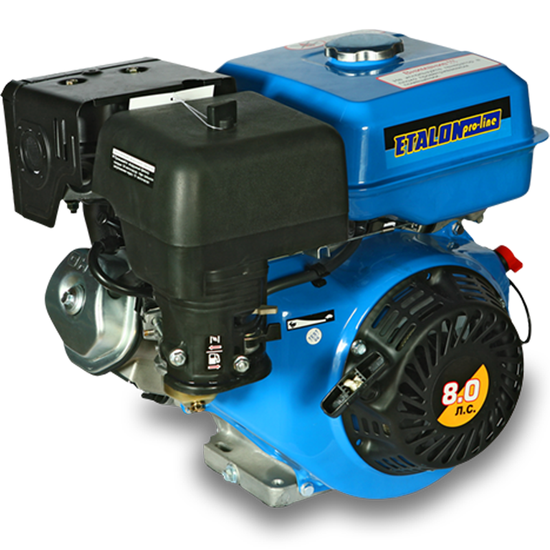 Бензиновый двигатель ETALON GE173F (8 л.с.)Садовая техника<br>Бензиновый двигатель ETALON GE173F  8 л.с.<br><br>Объем заливаемого масла: 1.1 л<br>Тип: Бензиновый<br>Тип запуска: Ручной стартер<br>Рабочий объем двигателя (см3): 242<br>Максимальная мощность двигателя (л.с.): 8<br>Объем топливного бака (л): 6.5<br>Габаритные размеры (мм): 420х515х470 мм<br>Вес (кг): 25 кг<br>Вес брутто (кг): 26 кг<br>brutto-weight: 28000