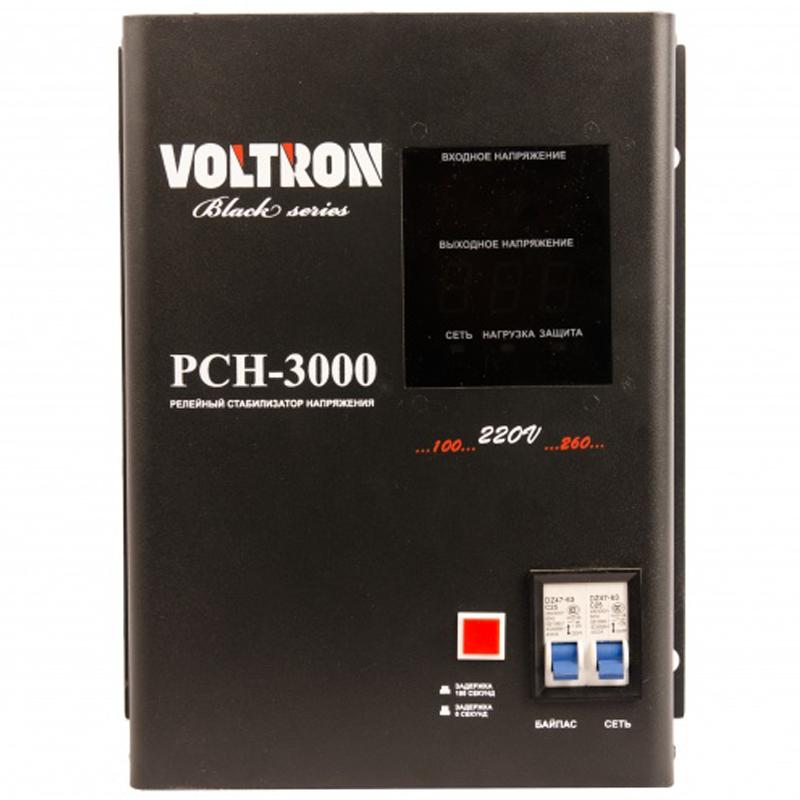 Однофазный стабилизатор напряжения VOLTRON РСН 3000 (настенный)Однофазные стабилизаторы Voltron<br>Однофазный стабилизатор напряжения VOLTRON РСН 3000  настенный<br><br>Тип напряжения: Однофазный<br>Принцип стабилизации: Релейный<br>Мощность (кВА): 3<br>Способ установки: Настенный<br>Габаритные размеры (мм): 320х220х136<br>Вес (кг): 9.5<br>brutto-demissions: 290х370х230<br>brutto-weight: 8600